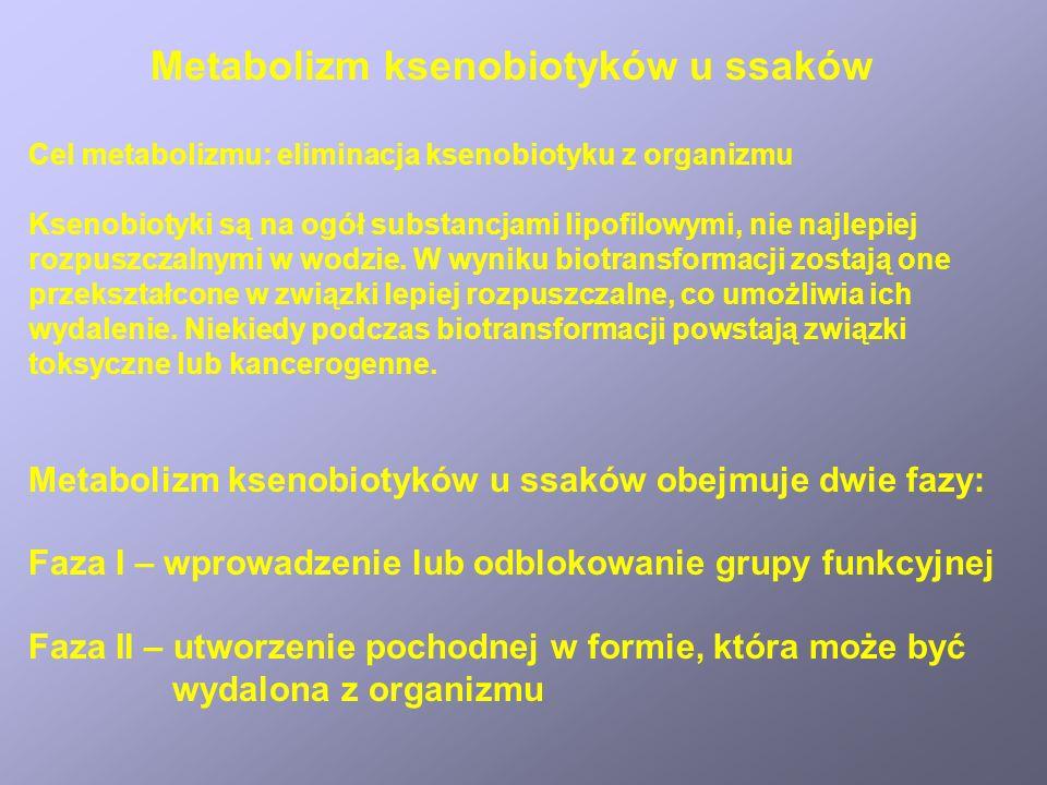 Metabolizm ksenobiotyków u ssaków Reakcje fazy I 1.Wprowadzenie grupy hydroksylowej lub epoksydowej w wyniku działania układu enzymatycznego cytochromu P-450 2.Utlenienie grup aminowych lub tiolowych przez monoksygenazy flawinowe 3.Utlenienie alkoholi do aldehydów i kwasów katalizowane przez dehydrogenazę alkoholową i dehydrogenazę aldehydową 4.