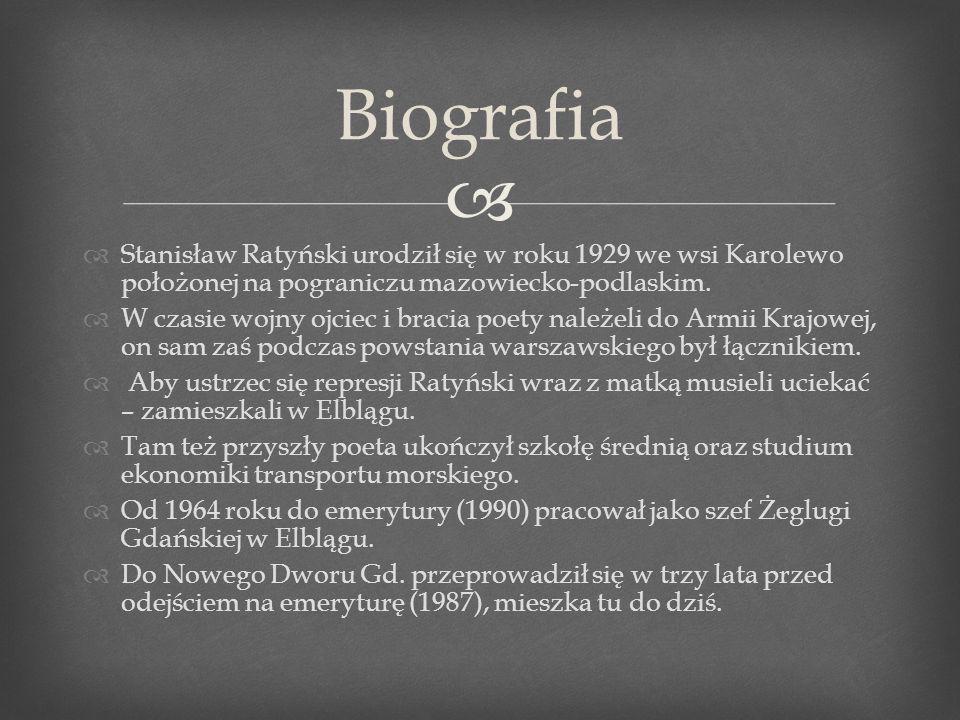 Stanisław Ratyński debiutował w roku 1947 na łamach wrocławskiego tygodnika Odrodzenie.