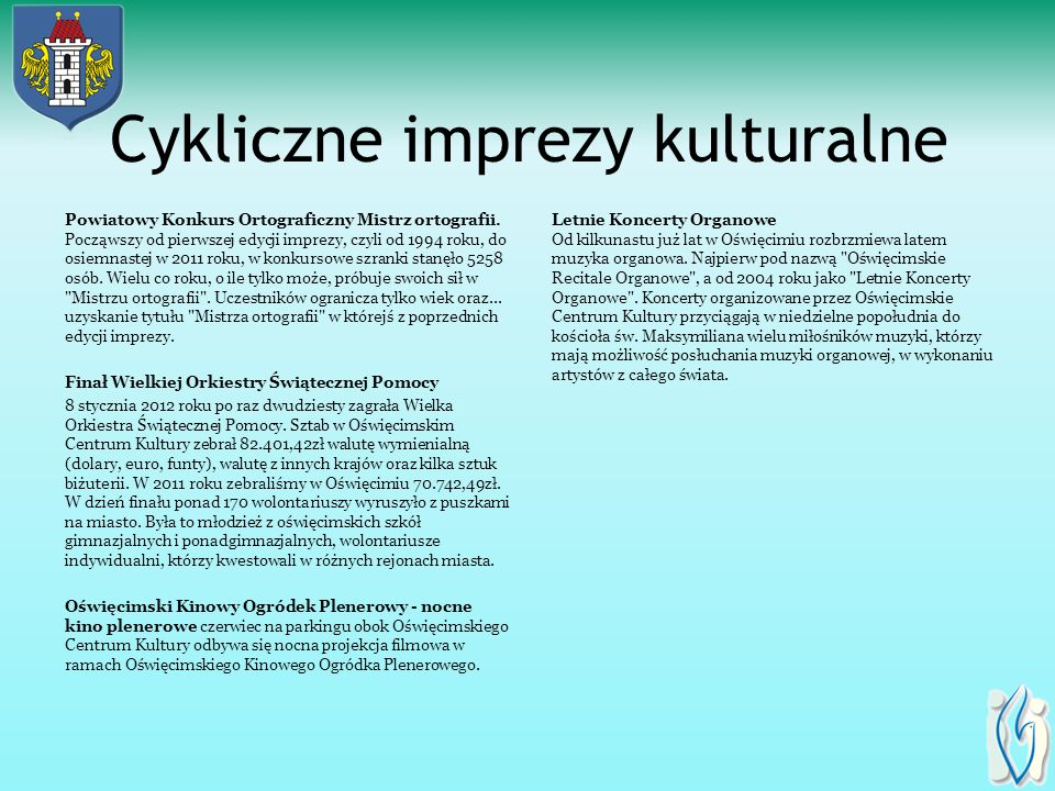 Cykliczne imprezy kulturalne Powiatowy Konkurs Ortograficzny Mistrz ortografii.