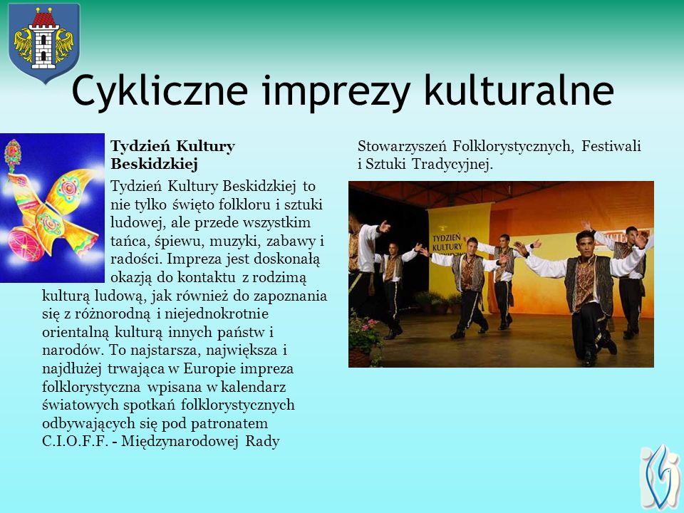 Cykliczne imprezy kulturalne Tydzień Kultury Beskidzkiej Tydzień Kultury Beskidzkiej to nie tylko święto folkloru i sztuki ludowej, ale przede wszystkim tańca, śpiewu, muzyki, zabawy i radości.
