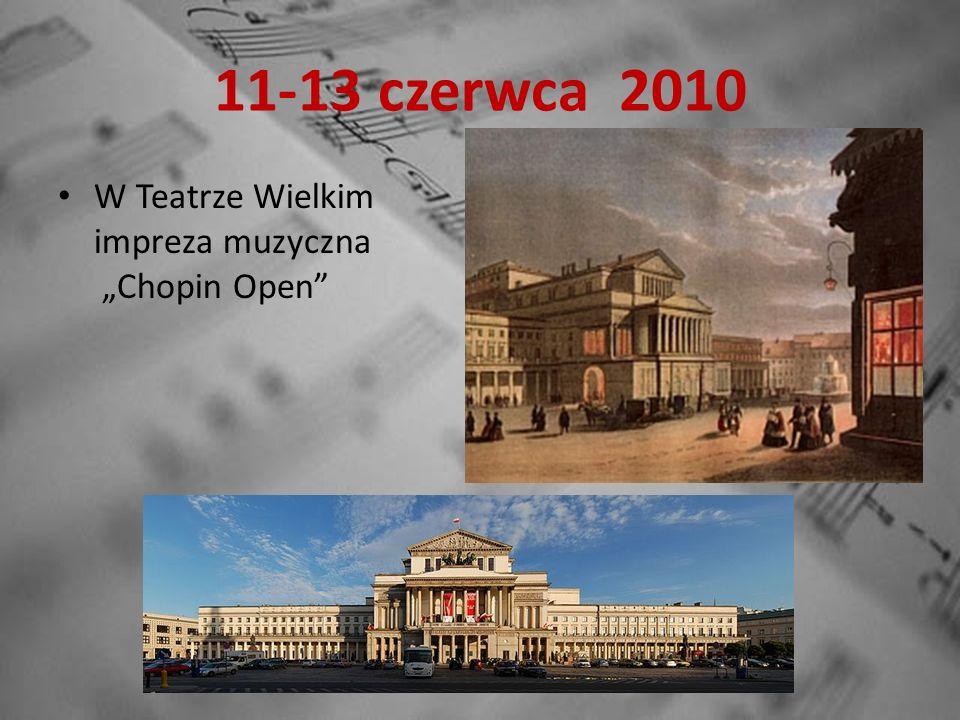 24-29 lipca 2010 Festiwal Chopiniana Impreza muzyczna w miejscach związanych z Chopinem zakończona maratonem pianistycznym pod pomnikiem Chopina w Łazienkach.