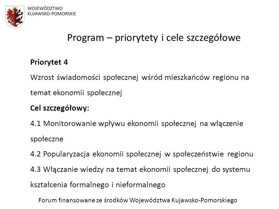 Znaczenie Programu Priorytety, cele szczegółowe i kierunki interwencji Programu określają i przyczyniają się w szczególności do: stworzenia podstawowych kierunków rozwoju podmiotów ekonomii społecznej w zakresie integracji zawodowej, integracji społecznej oraz dostępnych usług społecznych wynikających ze zdiagnozowanych potrzeb w województwie; stworzenia docelowej wizji sieci infrastrukturalnego wsparcia ekonomii społecznej w województwie (sieci ośrodków wsparcia ekonomii społecznej, infrastruktura finansowa); Forum finansowane ze środków Województwa Kujawsko-Pomorskiego