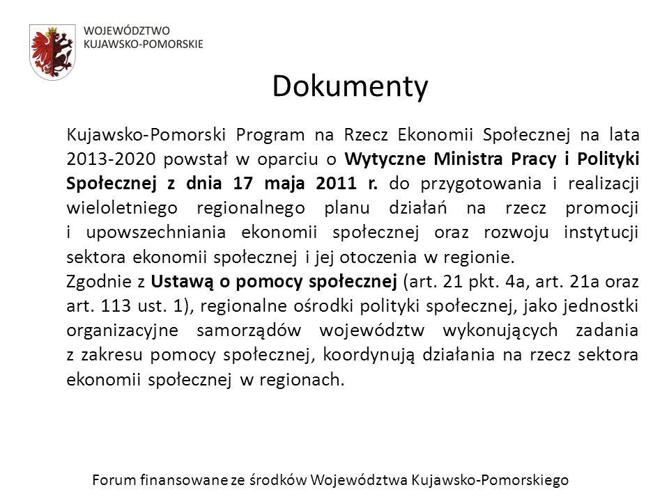 Forum finansowane ze środków Województwa Kujawsko-Pomorskiego Zgodnie z wytycznymi Ministra Pracy i Polityki Społecznej, programy wojewódzkie na rzecz ekonomii społecznej stanowią programy wykonawcze dla strategii rozwoju województw oraz strategii polityki społecznej.