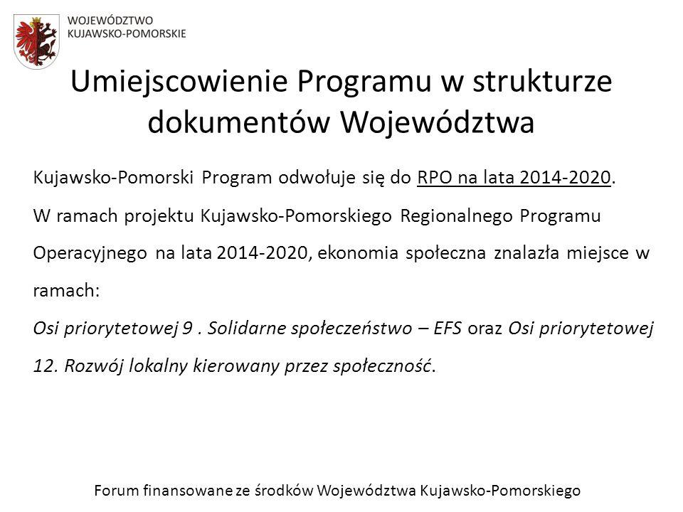 Forum finansowane ze środków Województwa Kujawsko-Pomorskiego Prace nad Programem W marcu 2012 roku Uchwałą Nr 12/272/12 Zarządu Województwa Kujawsko-Pomorskiego utworzono Wojewódzki Zespół Ekspercki ds.