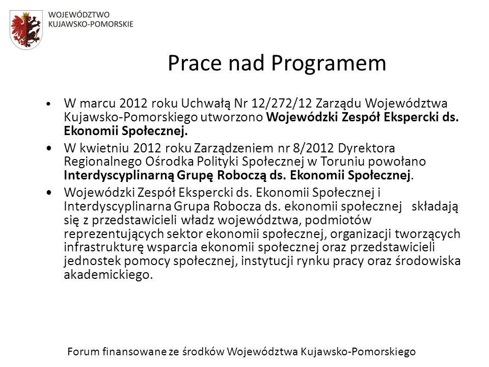 Prace nad Programem Zespół ekspercki, pod przewodnictwem Członka Zarządu Województwa Kujawsko-Pomorskiego, Pana Michała Korolko, na pierwszym spotkaniu w lutym 2012 roku wypracował zarys programu i 4 cele szczegółowe.