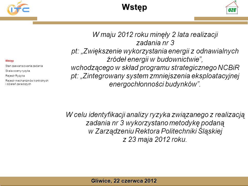Gliwice, Lipiec 2008 Stan zaawansowania zadania Gliwice, 22 czerwca 2012 Wstęp Stan zaawansowania zadania Skala oceny ryzyka Rejestr Ryzyka Rejestr mechanizmów kontrolnych i działań zaradczych