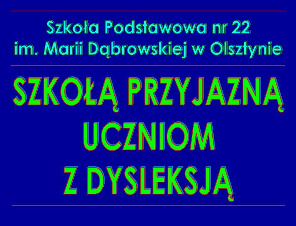W dniu 21 października 2006r w auli I Liceum Ogólnokształcącego w Olsztynie odbyła się uroczystość wręczania Certyfikatu Warmińsko – Mazurskiego Kuratora Oświaty Szkoła przyjazna uczniom z dysleksją __________________________________________________________________________________________________________________________ W tym dniu nasza szkoła jako jedna z 6 szkół województwa warmińsko – mazurskiego otrzymała z rąk Kuratora certyfikat Szkoły przyjaznej uczniom z dysleksją.