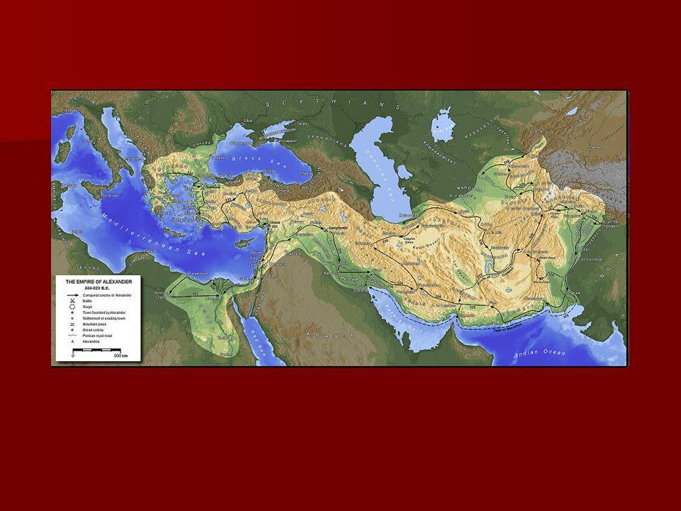 Imperium Aleksandra Wielkiego - Było bardzo zróżnicowane pod względem ludnościowym; - Różnie postrzegana osoba władcy: Macedończycy – uważali go za wodza, Grecy za hegemona Związku Korynckiego, dla ludów wschodu był prawowitym następca króla perskiego i władcą postępującym wg lokalnych obyczajów; - Rozdźwięk pomiędzy trzema członami państwa;