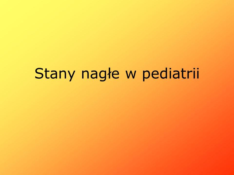 Zatrzymanie krążenia i oddechu Przyczyny: -wypadki (w tym utonięcia) -SIDS (śmierć łóżeczkowa) -Aspiracja ciała obcego -Infekcje (dróg oddechowych, o.u.n) -Wstrząs -Nagły wzrost ciśnienia śródczaszkowego (infekcje, krwiak, obrzęk mózgu)