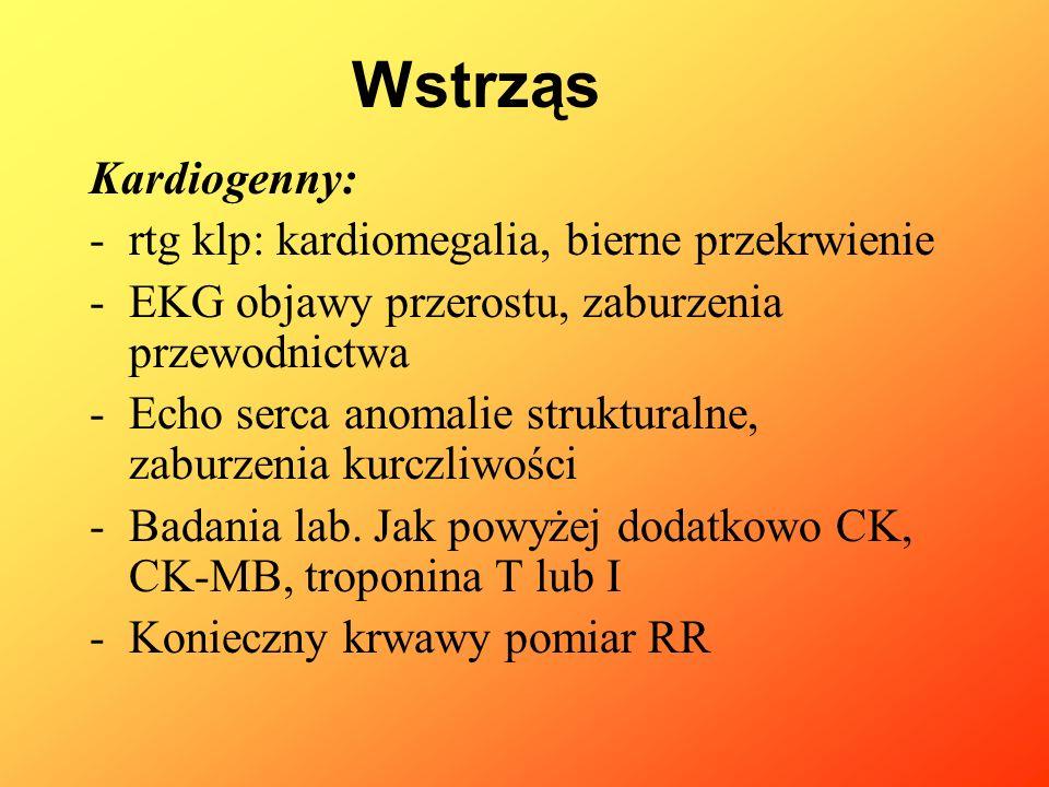 Kardiogenny: Leczenie -Ułożenie chorego z uniesiona górna połową ciała -Uwaga na przeciążenie płynowe -Podaż tlenu -Sedacja -Katecholaminy o działaniu inotropowym(adrenalina, dobutamina) -Obniżenie obciążenia następczego (nitrogliceryna 1 – 5 mcg/kg/min, nitroprusydek sodu 1-10 mcg/kg/min -Diuretyki -Leczenie przeciwarytmiczne -Inhibitory fosfodiesterazy: amrinon 3 – 10 mcg/kg/min we wlewie -Wyrównywanie zaburzeń elektrolitowych -Dowóz kalorii Wstrząs
