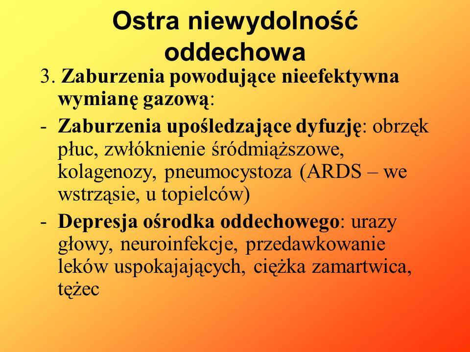 Objawy: -Płucne: tachypnoe, cechy duszności, osłuchowo ściszenie szmerów oddechowych, lub ich brak -Neurologiczne: bóle głowy, niepokój, drażliwość, drgawki, śpiączka -Układ krążenia: niedociśnienie, bradykardia, w przypadku przewlekania objawów: niewydolność serca, obrzęk pluc Ostra niewydolność oddechowa