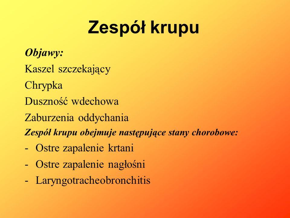 1.Ostre zapalenie krtani: Etiologia: wirusowa: wirusy grypy, Rhinowirusy, adenowirusy.