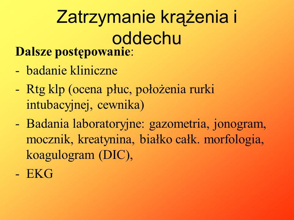 """Dalsze postępowanie: -Cewnik w żyle centralnej -Cewnik dotętniczy (ocena RR, gazometrii) -Cewnik do pęcherza (ocena diurezy, cel >1ml/kg/h): gdy oligo-anuria dopamina 2- 5mcg/kg/min (""""dawka nerkowa ) -Pomiar temperatury -Sonda dożołądkowa -Kontrola SO2, pO2 (100 – 120 mmHg), pCO2 (30 – 35 mmHg) -Bilans płynów -Leczenie choroby podstawowej Zatrzymanie krążenia i oddechu"""