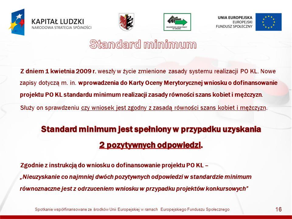 17 Spotkanie współfinansowane ze środków Unii Europejskiej w ramach Europejskiego Funduszu Społecznego