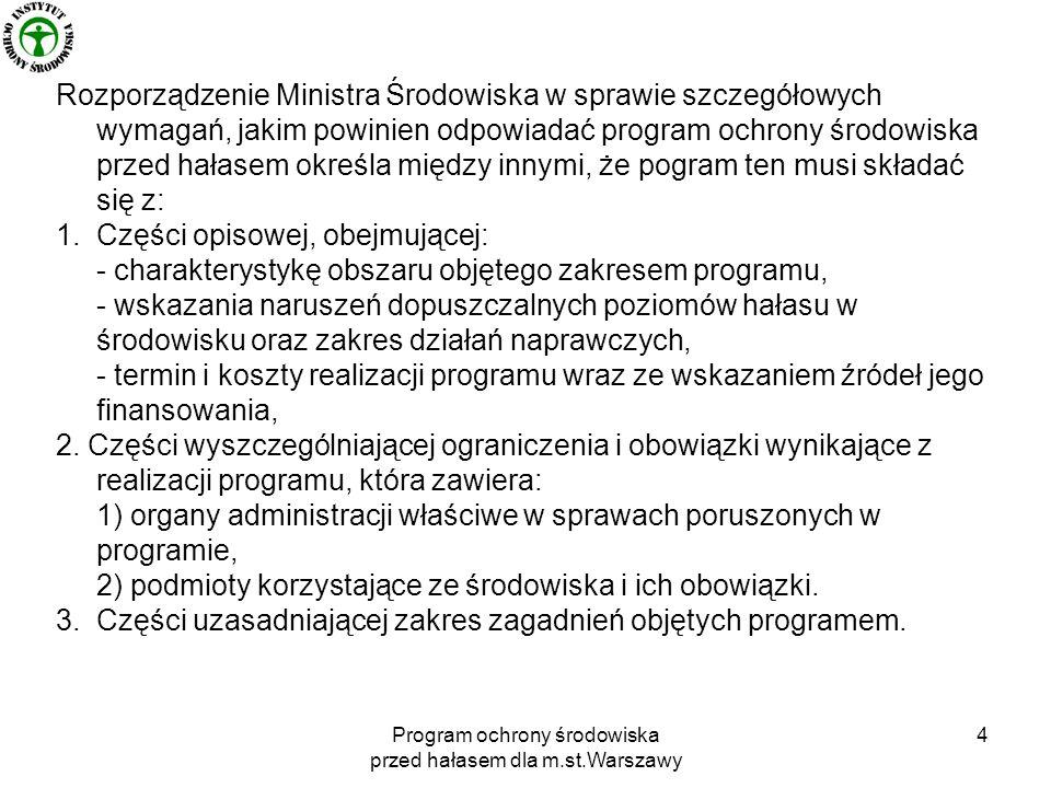 Program ochrony środowiska przed hałasem dla m.st.Warszawy 5 Rozporządzenie wymaga, aby w programie został zawarty harmonogram realizacji poszczególnych zadań.