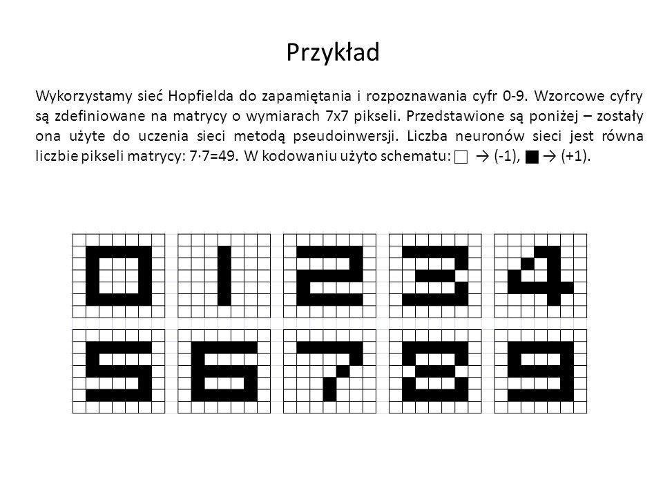 Cyfry wzorcowe Wzorce Rozpoznane Pierwszy wiersz – wzorce.