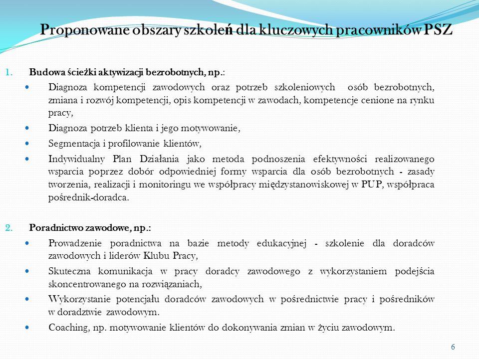 7 Proponowane obszary szkole ń dla kluczowych pracowników PSZ 3.