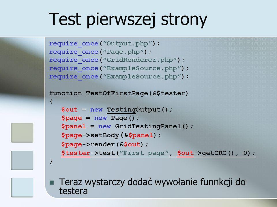 Rozbudowa testera Przeszukiwanie katalogu z testami i włączanie wszystkich znalezionych plików.