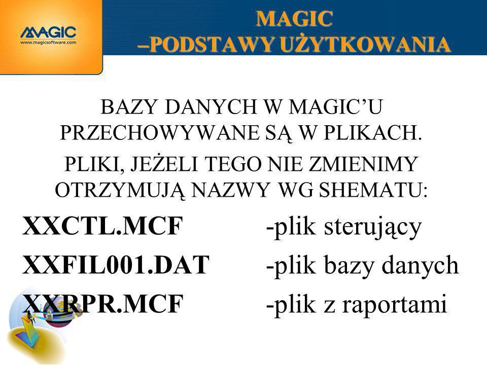 MAGIC –PODSTAWY UŻYTKOWANIA PRZYKŁADOWY KATALOG Z APLIKACJĄ MAGIC PLIK STERUJĄCY APLIKACJI PLIK Z RAPORTAMI PLIKI Z DANYMI