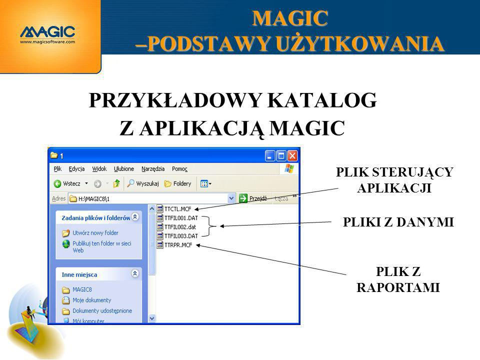 MAGIC –PODSTAWY UŻYTKOWANIA ABY ROZPOCZĄĆ PRACĘ MUSIMY OKREŚLIĆ MIEJSCE PRZECHOWYWANIA PLIKÓW NASZEJ APLIKACJI ORAZ DWUZNAKOWY PREFIKS.