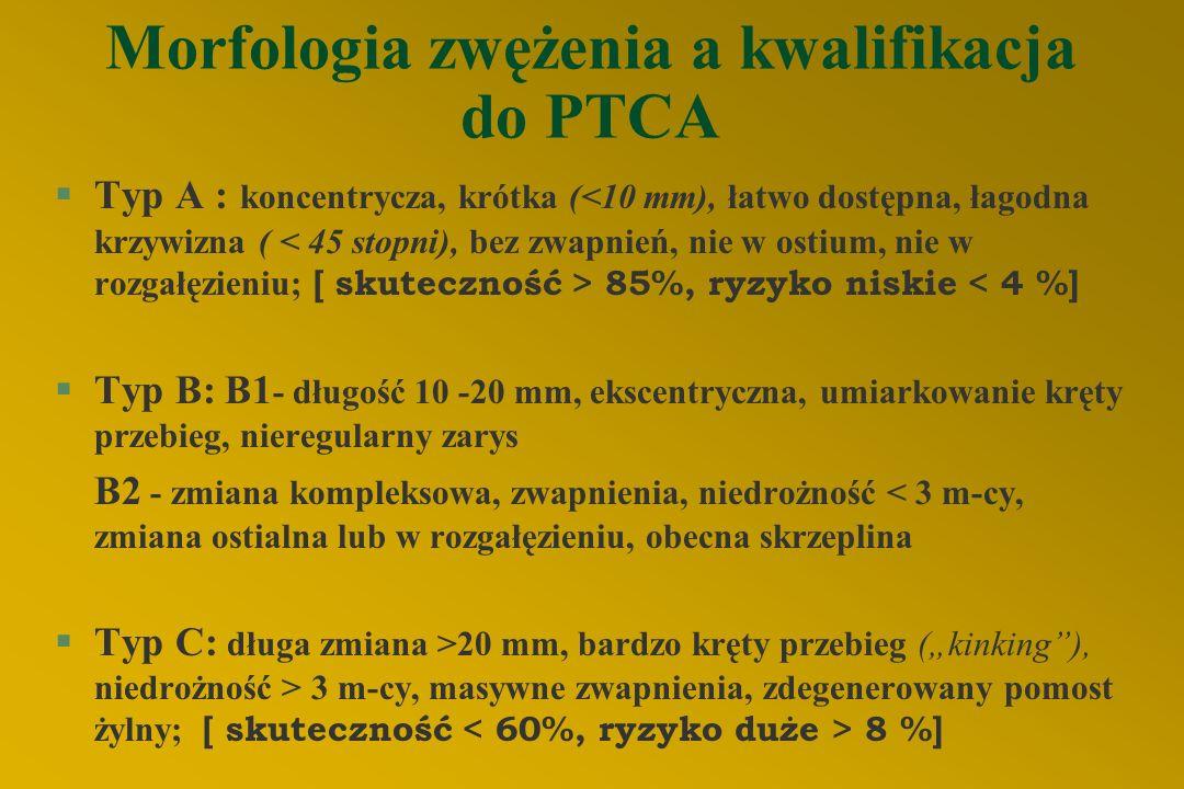 """Morfologia zwężenia a kwalifikacja do PTCA  Typ A : koncentrycza, krótka ( 85%, ryzyko niskie < 4 %] §Typ B: B1 - długość 10 -20 mm, ekscentryczna, umiarkowanie kręty przebieg, nieregularny zarys B2 - zmiana kompleksowa, zwapnienia, niedrożność < 3 m-cy, zmiana ostialna lub w rozgałęzieniu, obecna skrzeplina  Typ C: długa zmiana >20 mm, bardzo kręty przebieg (""""kinking ), niedrożność > 3 m-cy, masywne zwapnienia, zdegenerowany pomost żylny; [ skuteczność 8 %]"""
