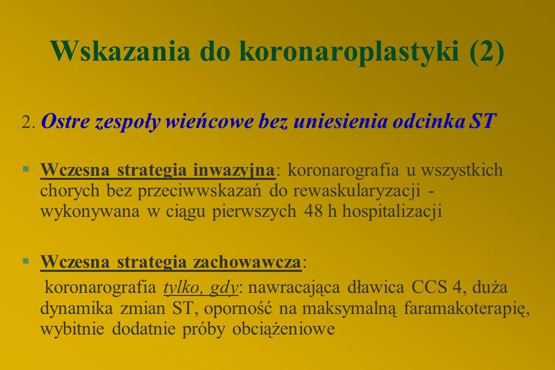 Wskazania do koronaroplastyki (2) 2.