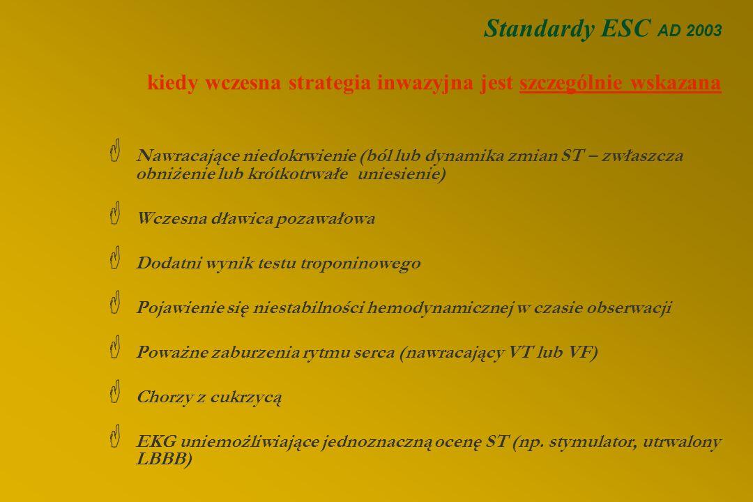 Standardy ESC AD 2003 kiedy wczesna strategia inwazyjna jest szczególnie wskazana  Nawracające niedokrwienie (ból lub dynamika zmian ST – zwłaszcza obniżenie lub krótkotrwałe uniesienie)  Wczesna dławica pozawałowa  Dodatni wynik testu troponinowego  Pojawienie się niestabilności hemodynamicznej w czasie obserwacji  Poważne zaburzenia rytmu serca (nawracający VT lub VF)  Chorzy z cukrzycą  EKG uniemożliwiające jednoznaczną ocenę ST (np.