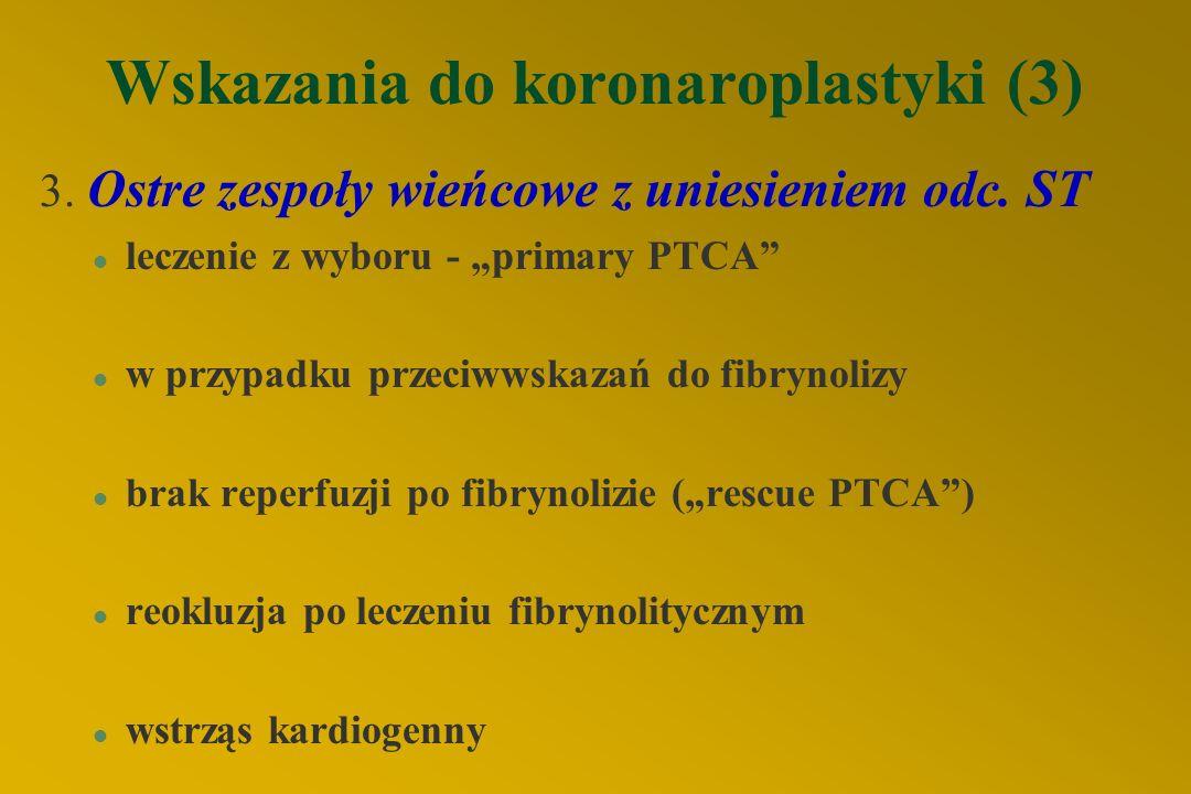 Wskazania do koronaroplastyki (3) 3.Ostre zespoły wieńcowe z uniesieniem odc.