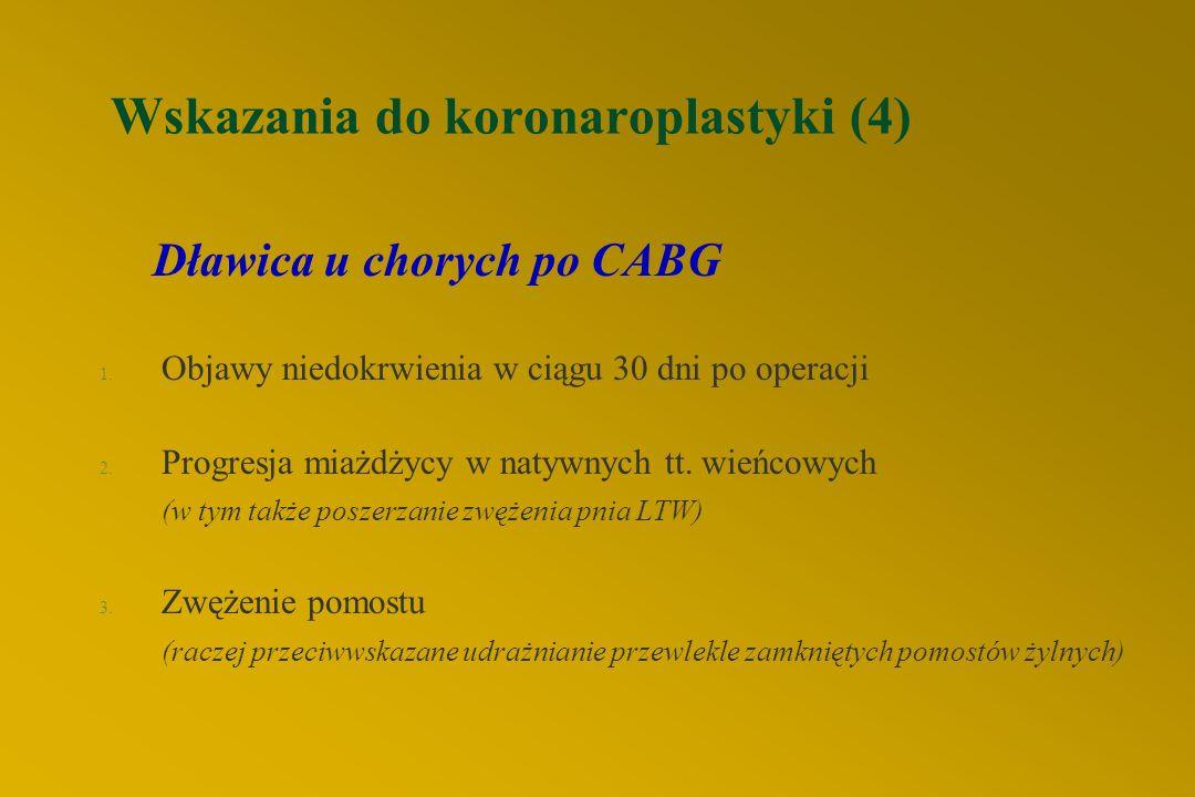 Wskazania do koronaroplastyki (4) Dławica u chorych po CABG 1.