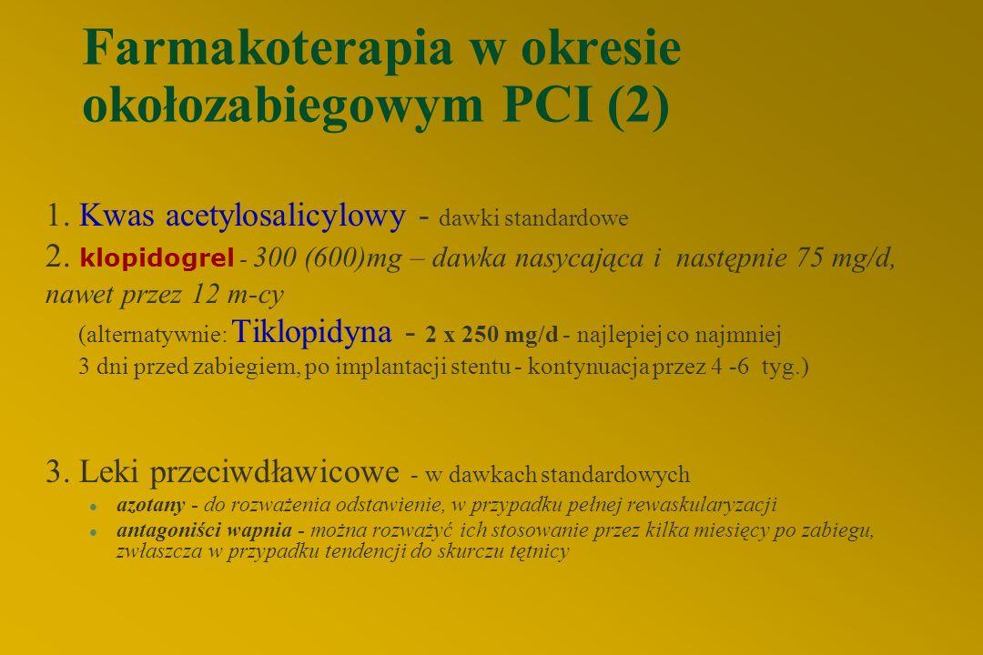Farmakoterapia w okresie okołozabiegowym PCI (2) 1.