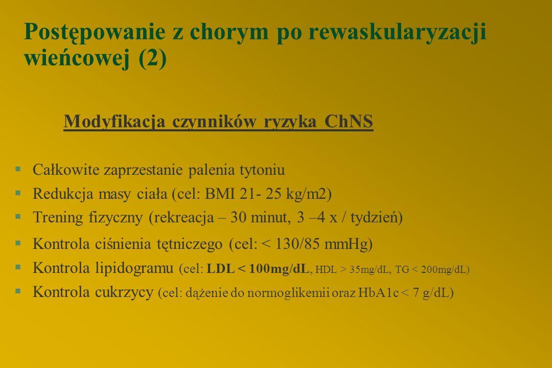 Postępowanie z chorym po rewaskularyzacji wieńcowej (2) Modyfikacja czynników ryzyka ChNS §Całkowite zaprzestanie palenia tytoniu §Redukcja masy ciała (cel: BMI 21- 25 kg/m2) §Trening fizyczny (rekreacja – 30 minut, 3 –4 x / tydzień) §Kontrola ciśnienia tętniczego (cel: < 130/85 mmHg) §Kontrola lipidogramu (cel: LDL 35mg/dL, TG < 200mg/dL) §Kontrola cukrzycy (cel: dążenie do normoglikemii oraz HbA1c < 7 g/dL)
