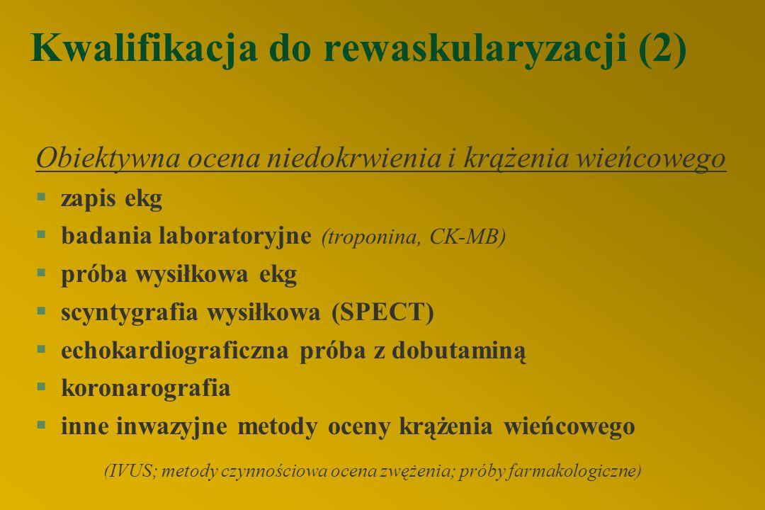 Kwalifikacja do rewaskularyzacji (2) Obiektywna ocena niedokrwienia i krążenia wieńcowego §zapis ekg §badania laboratoryjne (troponina, CK-MB) §próba wysiłkowa ekg §scyntygrafia wysiłkowa (SPECT) §echokardiograficzna próba z dobutaminą §koronarografia §inne inwazyjne metody oceny krążenia wieńcowego (IVUS; metody czynnościowa ocena zwężenia; próby farmakologiczne)