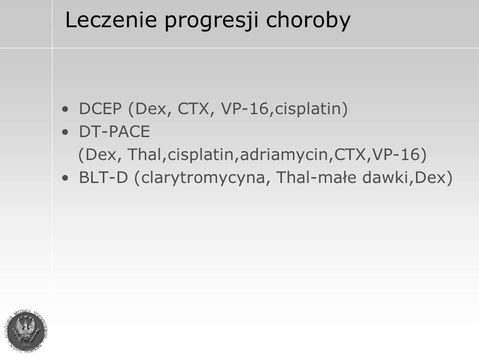 Nowe metody leczenia 1.Związki antyangiogenne - Thalidomid i jego analogi Revimid i Actimid 2.Ihibitory proteasomów – Bortezomib 3.