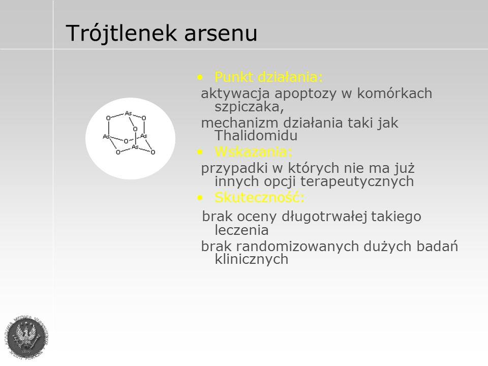 Trójtlenek arsenu (As 2 O 3 )Trisenox Dawkowanie: As 2 O 3 0,15 – 0,25mg/kg/dz.