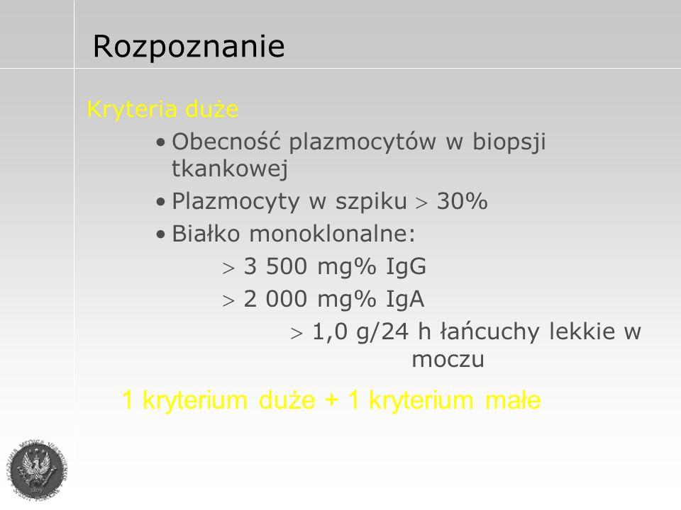 Rozpoznanie Kryteria małe Plazmocyty w szpiku 10-30%* Białko monoklonalne w niższym stężeniu niż w kategoriach dużych* Ogniska osteolityczne w kościach IgM  50 mg% IgA  100 mg% IgG  600 mg% 3 kryteria małe