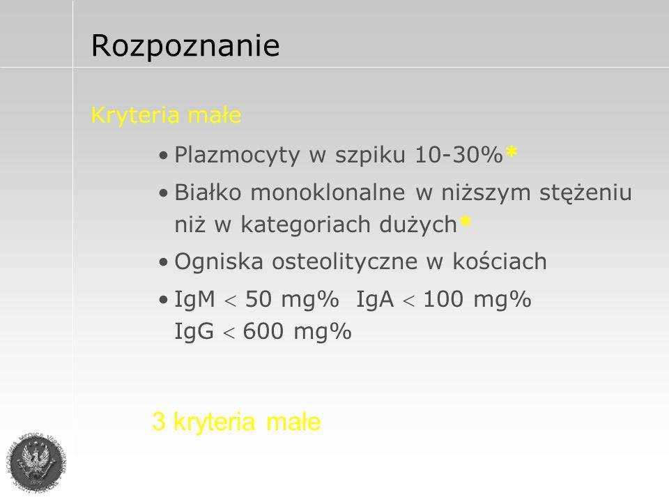 Kliniczne zaawansowanie choroby wg Durie i Salmona Stadium IStadium III >10g/dl Hb <8,5 g/dl normalny Wapń podwyższony bez zmian lub z pojedynczą zmianą Szkielet mnogie zmiany ostelityczne IgG < 5g/dl IgA < 3g/dl Łańcuchy lekkie w moczu < 4g/24h Białko monoklonalne IgG > 7g/dl IgA > 5g/dl Łańcuchy lekkie w moczu > 12g/24h <0,6 x 10 12 /m 2 Masa nowotworu >1,2 x 10 12 /m 2