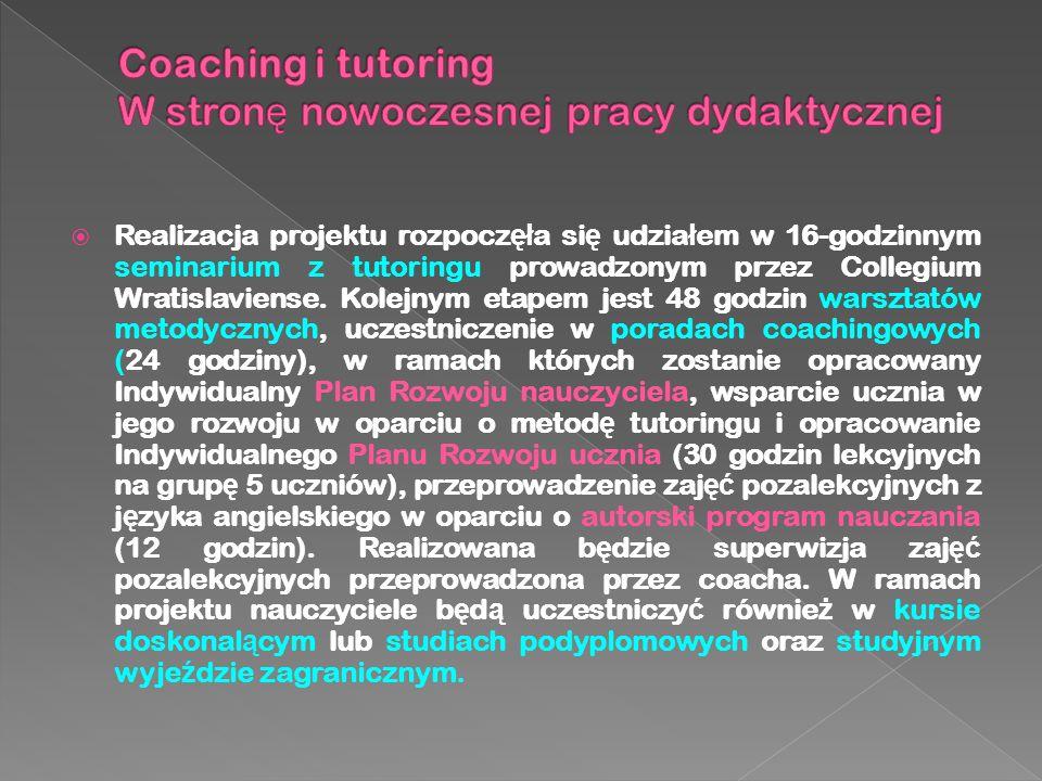  Tutoring jest nowoczesn ą metod ą dydaktyczn ą, która dzi ę ki bliskiej relacji ucznia i tutora, pozwala na osi ą ganie lepszych rezultatów edukacyjnych i wychowawczych.