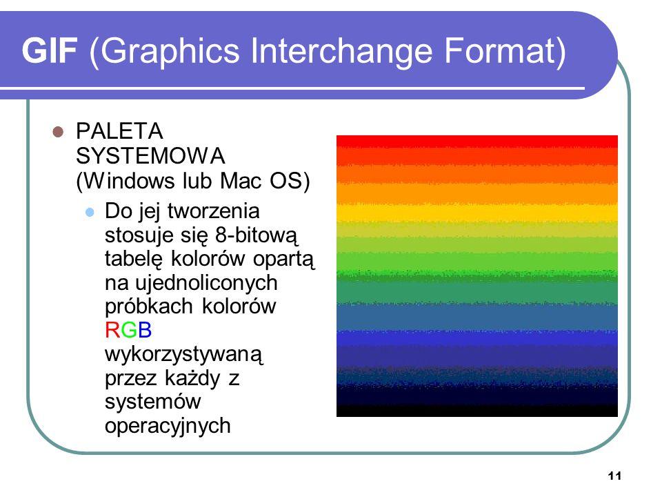 12 GIF (Graphics Interchange Format) PALETA ADAPTACYJNA Tworzy paletę barw na podstawie próbkowania kolorów najczęściej występujących w obrazie Pozwala na zredukowanie liczby kolorów z zachowaniem spektrum kolorystycznego ilustracji
