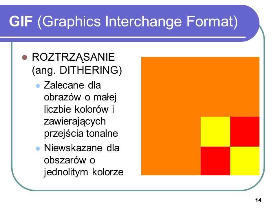 15 GIF (Graphics Interchange Format) ROZTRZĄSANIE WZORKOWE (ang.