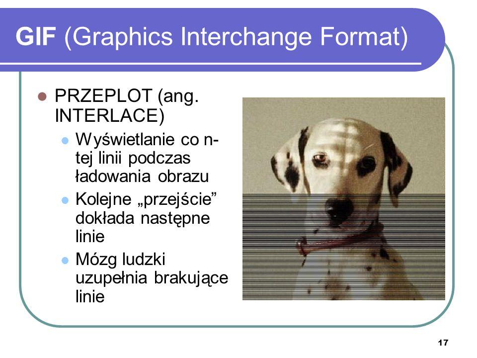 18 GIF (Graphics Interchange Format) ANIMACJA GIF umożliwia wyświetlanie kolejno wielu obrazów tworzących animację Regulacji podlega czas wyświetlania każdego obrazka składowego