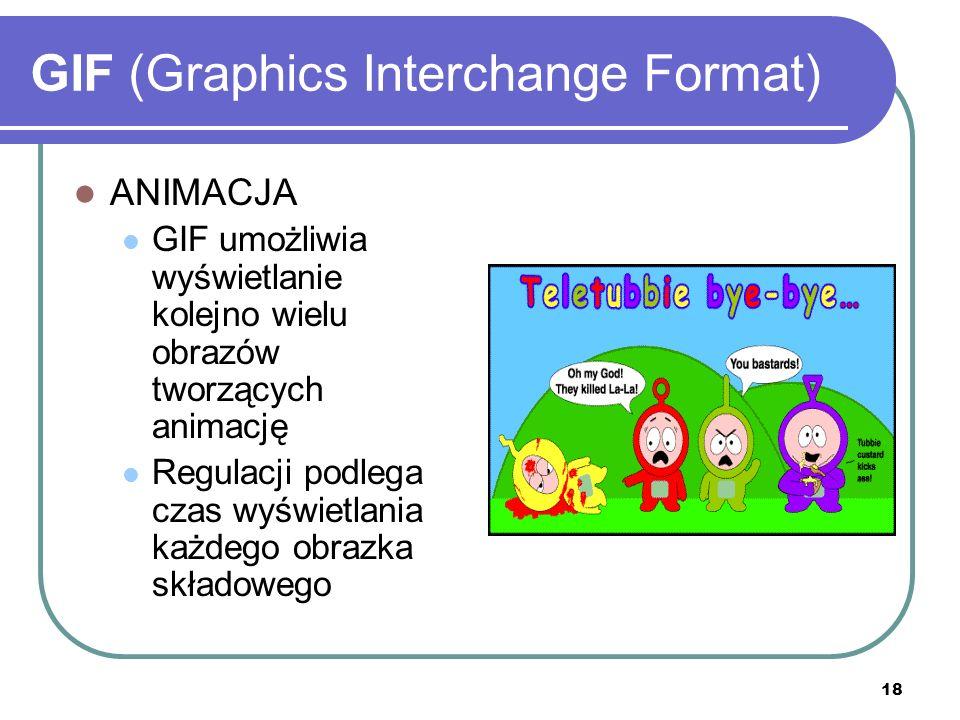 19 GIF (Graphics Interchange Format) KOMPRESJA Bezstratna - patent LZW (Lempel, Ziv, Welch) Jeżeli w wierszu sąsiaduje kilka pikseli tego samego koloru, zapisywana jest informacja o kolorze i ilości pikseli