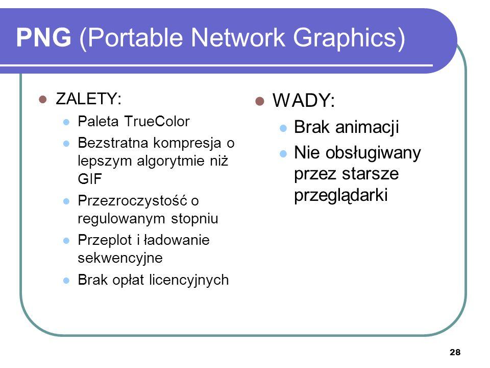 29 JPEG (Joint Photographic Experts Group) Zbiór standardów opracowany przez ISO/IEC JTC1 SC29 Working Group 1 Najbardziej rozpowszechniony: IS 10918-1 (ITU-T T.81) Znany przede wszystkim z powodu bardzo dobrej kompresji Rozszerzenie *.jpg
