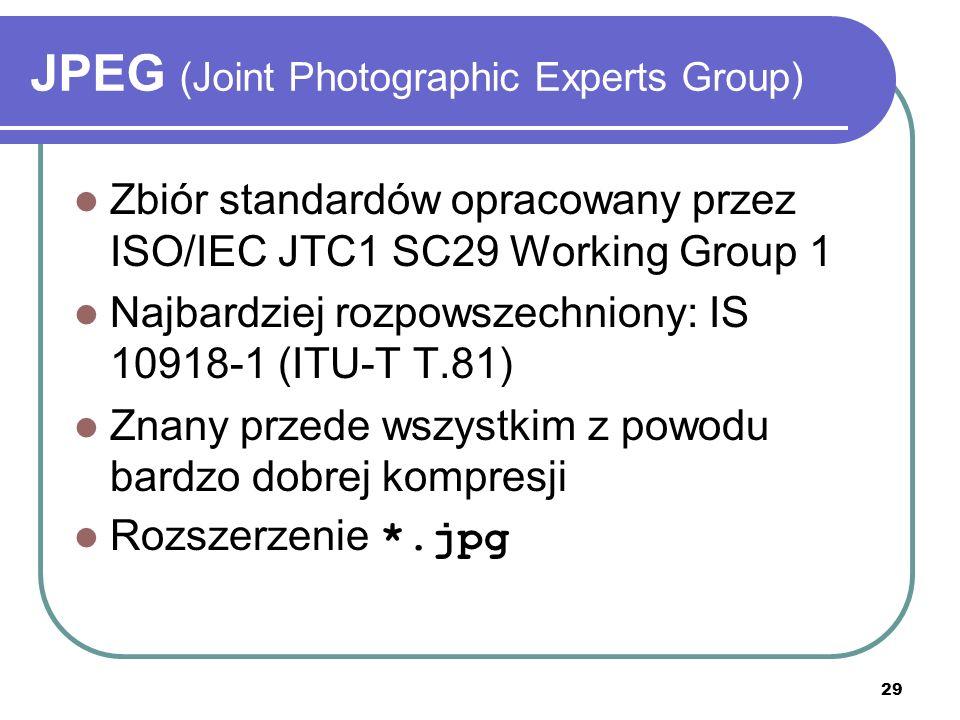 30 JPEG (Joint Photographic Experts Group) Paleta barw – TrueColor (24-bit) Rodzaje palet RGB CMYK (Cyan Magenta Yellow blacK) Nie obsługuje przezroczystości (brak kanału alfa)