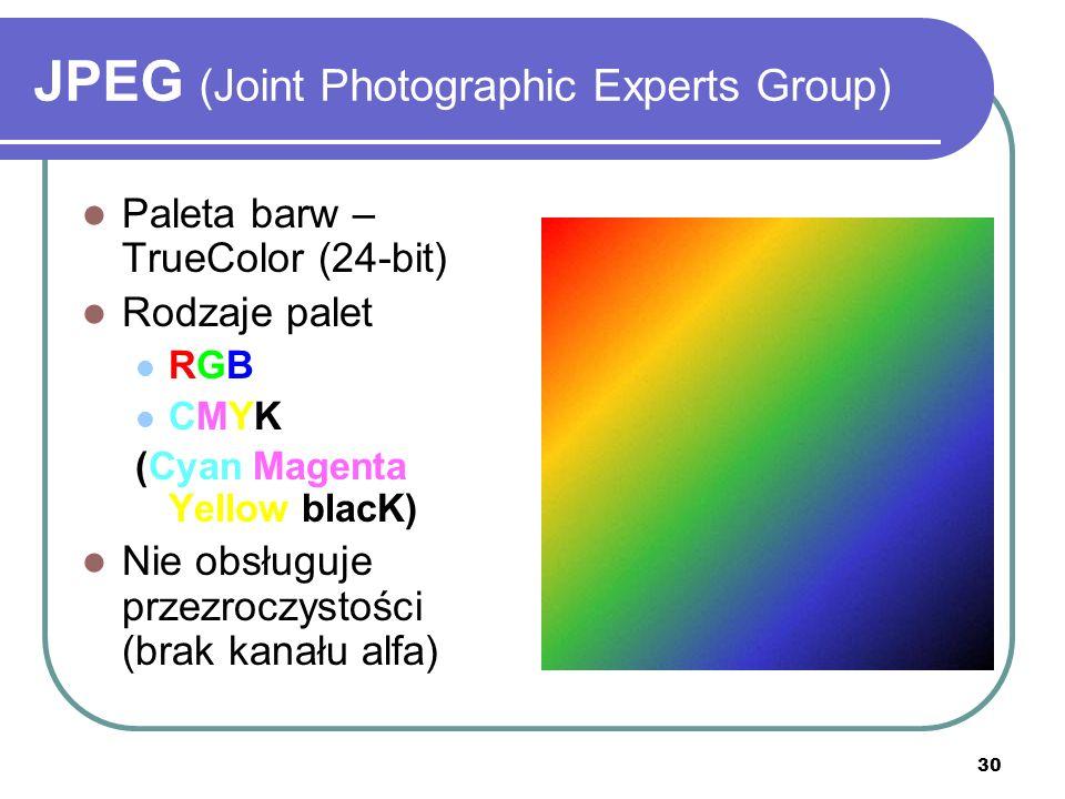 31 JPEG (Joint Photographic Experts Group) WYŚWIETLANIE SEKWENCYJNE (PROGRESYWNE) Wpierw wyświetlane są kontury, a potem dochodzą kolejne szczegóły Obraz zapisany progresywnie jest nieco większy