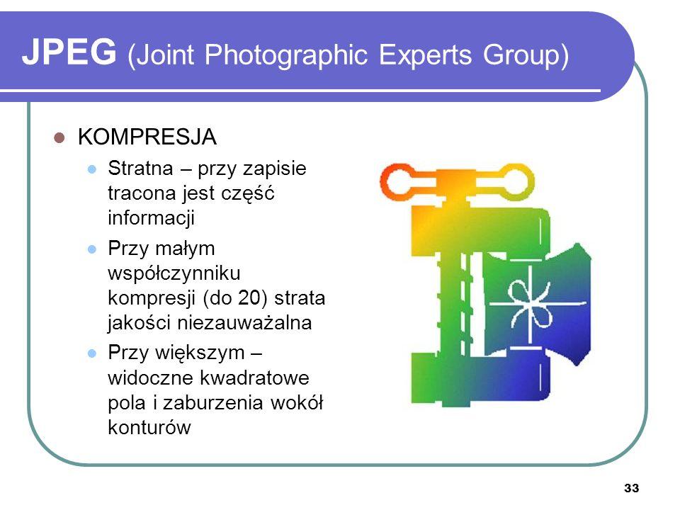 34 JPEG (Joint Photographic Experts Group) KOMPRESJA Standard JPEG pozwala na stosowanie różnych algorytmów kompresji System bazowy wykorzystuje dyskretną transformację kosinusową