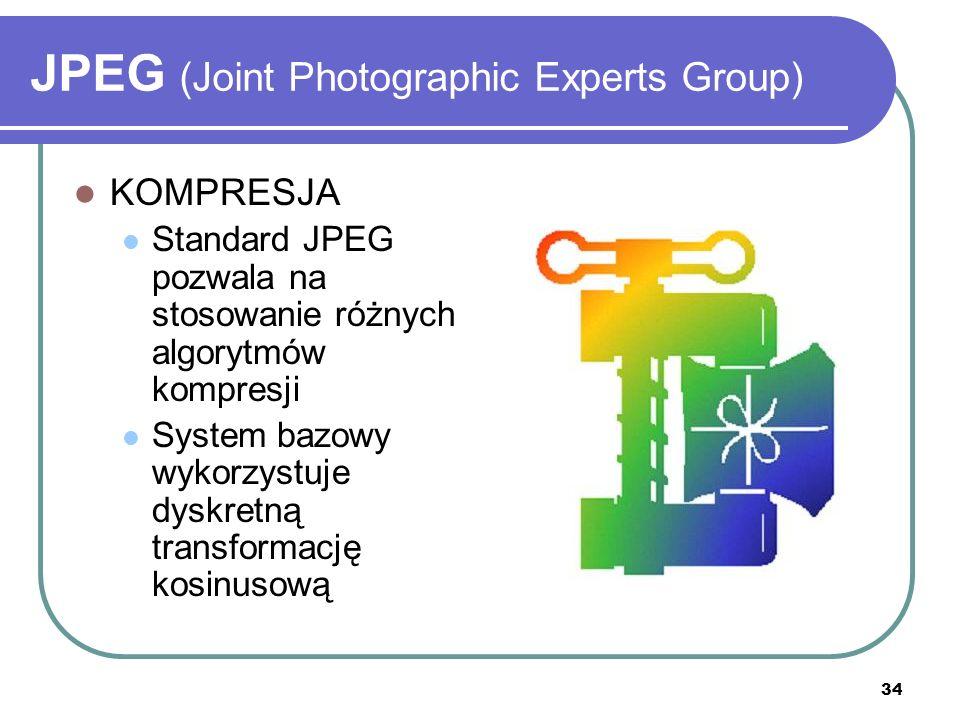 35 JPEG (Joint Photographic Experts Group) ZALETY: Paleta TrueColor Kompresja znacznie zmniejszająca rozmiar pliku Progresja – wczytywanie szczegółów w kolejnych przejściach WADY: Strata jakości podczas kompresji Brak animacji Brak przezroczystości