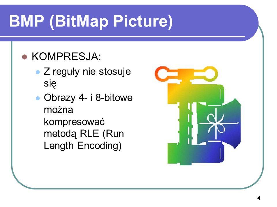 5 BMP (BitMap Picture) STRUKTURA PLIKU: Nagłówek (54 bajty) Opcjonalnie – paleta typu RGB (768 bajtów) Dane obrazowe (po 3 bajty na piksel) – linie zapisywane od dołu do góry Na- główek Paleta (opcja) Właściwy obraz