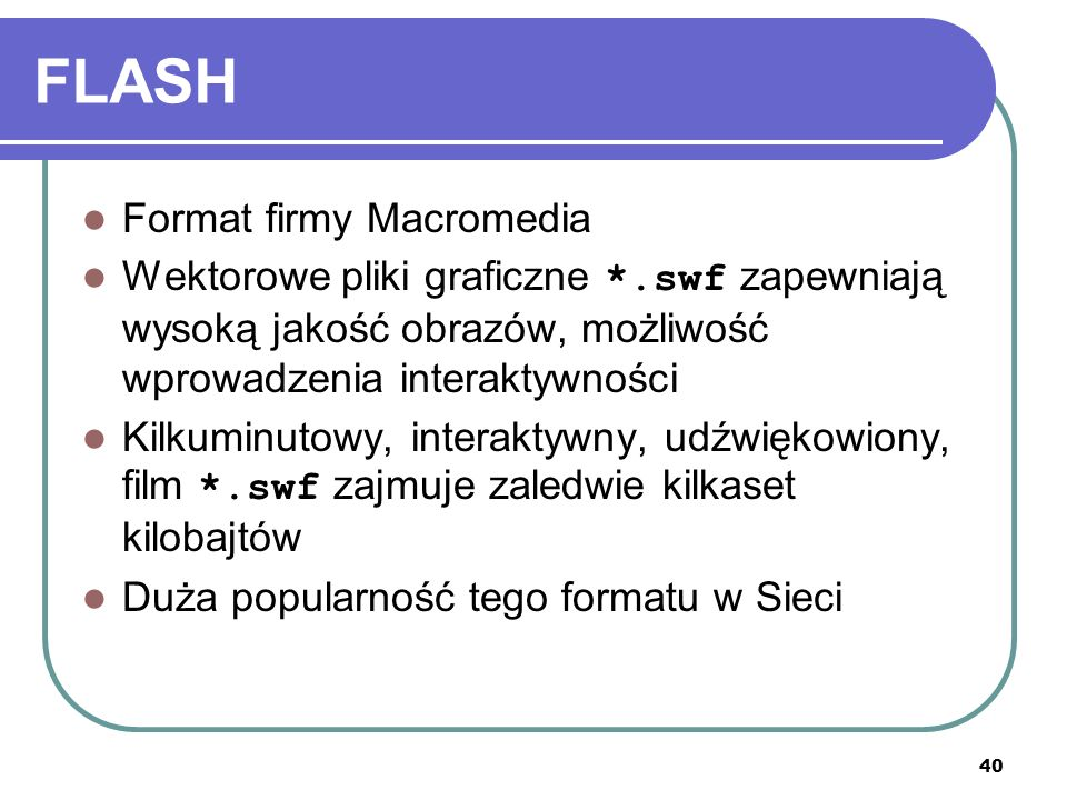 41 LITERATURA Adi, Formaty plików graficznych, http://www.admi.cad.pl/formaty.htm http://www.admi.cad.pl/formaty.htm Gawenda M.