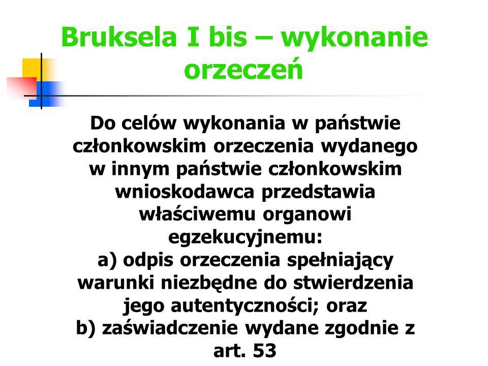 Bruksela I bis – zaświadczenie z art.53 - k.p.c. Art..
