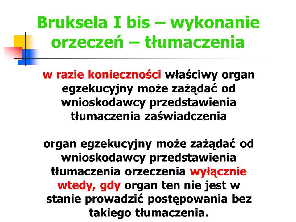 Bruksela I bis – wykonanie orzeczeń – tłumaczenia Jeżeli wystąpiono o wykonanie orzeczenia wydanego w innym państwie członkowskim, zaświadczenie wydane zgodnie z art.
